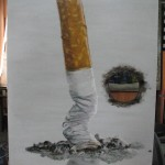 775# R. Perlak, Do not Put Out Cigarettes on the Paintings, 2014, oil on canvas, 40 x 28 in (100