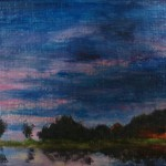 752# R. Perlak, The Sky. 1, 2015, oil on canvas, 4 x 15 in (10 x 38 cm)
