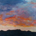 753# R. Perlak, The Sky. 2, 2015, oil on canvas, 4 x 17 in (10 x 43 cm)