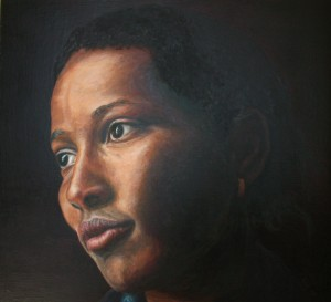 695# R. Perlak, The portrait of Ayaan Hirsi Ali, 2016, oil on canvas stick on panel, 23 x 26 in (