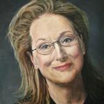 696# R. Perlak, The portrait of Meryl Streep, 2016, oil on canvas stick on panel, 23 x 20 in (58