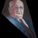 802# R. Perlak, Breakup of Empire. Portrait of Michail Gorbaczow, 2014, oil on canvas, irregular