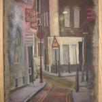 807# R. Perlak, Tired Street in London, 2014, oil on canvas, 26 x 16 in (68 x 42 cm)