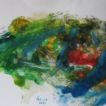 893# R. Perlak, Frog with Blue Neck, 2013, oil on paper, 8 x 12 in (21 x 30 cm)