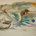895# R. Perlak, It Could be Calm Tree. Lobster, 2012, oil on paper, 8 x 16 in (20 x 40 cm)