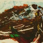 896# R. Perlak, A Head of Unkaowa Dinosaur, 2012, oil on paper, 8 x 16 in (20 x 40 cm)