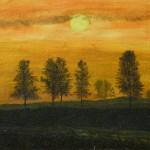 933# R. Perlak, The Fog - Sunset, 2011, oil on canvas, 7 x 11 in (18 x 28 cm)
