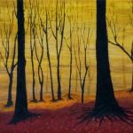 934# R. Perlak, The Fog - Autumn Wood, 2011, oil on canvas, 7 x 11 in (18 x 28 cm)