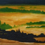 935# R. Perlak, The Fog - Landscape with Church, 2011, oil on canvas, 7 x 11 in (18 x 28 cm)