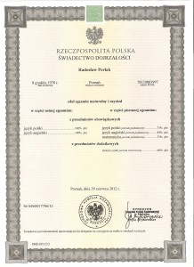 Secondary - school examination certificate, 2012.06
