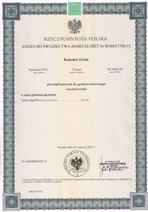 Secondary - school examination certificate, 2015.06