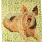 681# R. Perlak, Pig, 2016, oil on canvas stick on wood, nails, 28 x 22 in (72 x 55 cm)