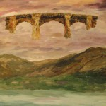684# R. Perlak, Bridge, 2016, oil on canvas stick on wood, nails, 15 x 24 in (39 x 62 cm)