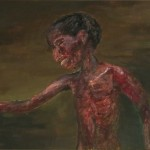 689# R. Perlak, Hungry Child, 2016, oil on canvas stick on panel, 10 x 17 in (25 x 44 cm)