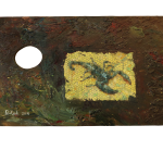 694# R. Perlak, Scorpion, 2016, oil on canvas stick on wood, 8 x 19 in (21 x 49 cm)