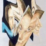672# R. Perlak, Three Faces, 2017, oil on canvas stick on panel, 29 x 21 in (73 x 52 cm)